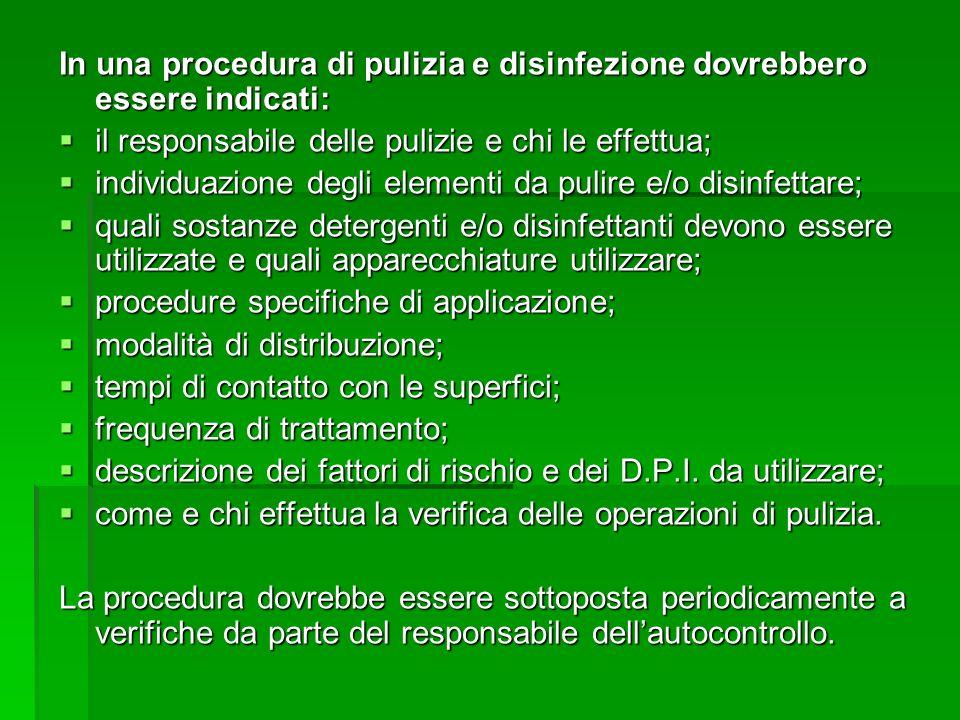In una procedura di pulizia e disinfezione dovrebbero essere indicati: il responsabile delle pulizie e chi le effettua; il responsabile delle pulizie