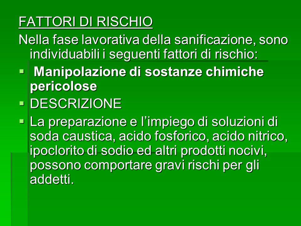 FATTORI DI RISCHIO Nella fase lavorativa della sanificazione, sono individuabili i seguenti fattori di rischio: Manipolazione di sostanze chimiche per