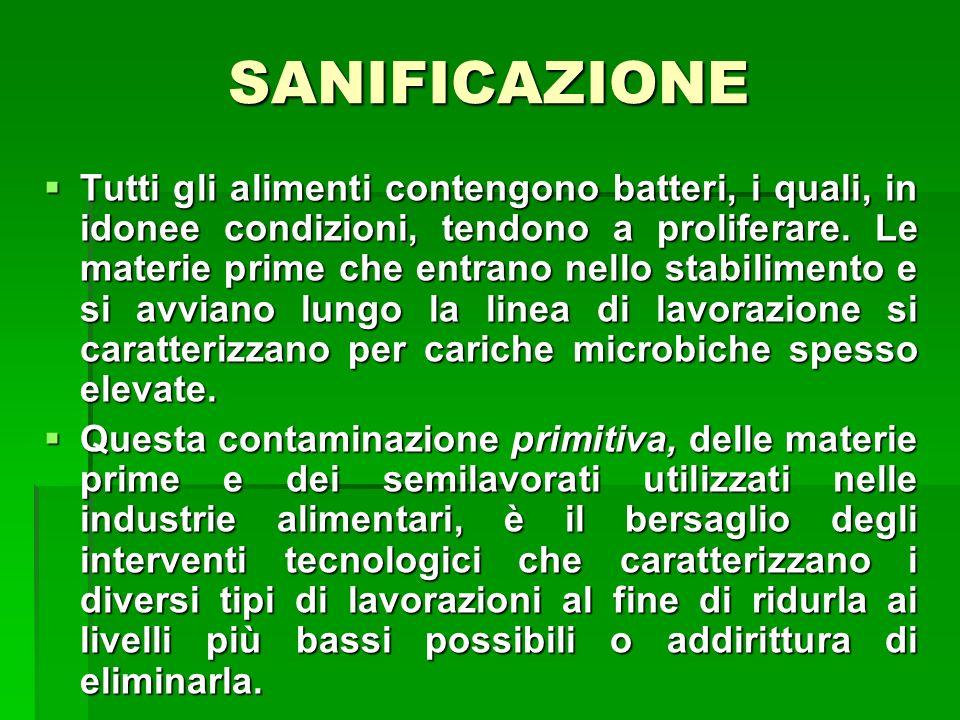 Nello stabilimento alimentare il prodotto prima e dopo la lavorazione può subire un ulteriore apporto di microrganismi sotto forma di contaminazione secondaria.