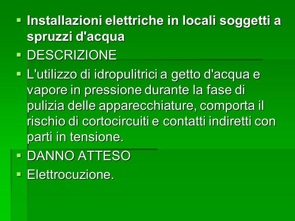 Installazioni elettriche in locali soggetti a spruzzi d'acqua Installazioni elettriche in locali soggetti a spruzzi d'acqua DESCRIZIONE DESCRIZIONE L'