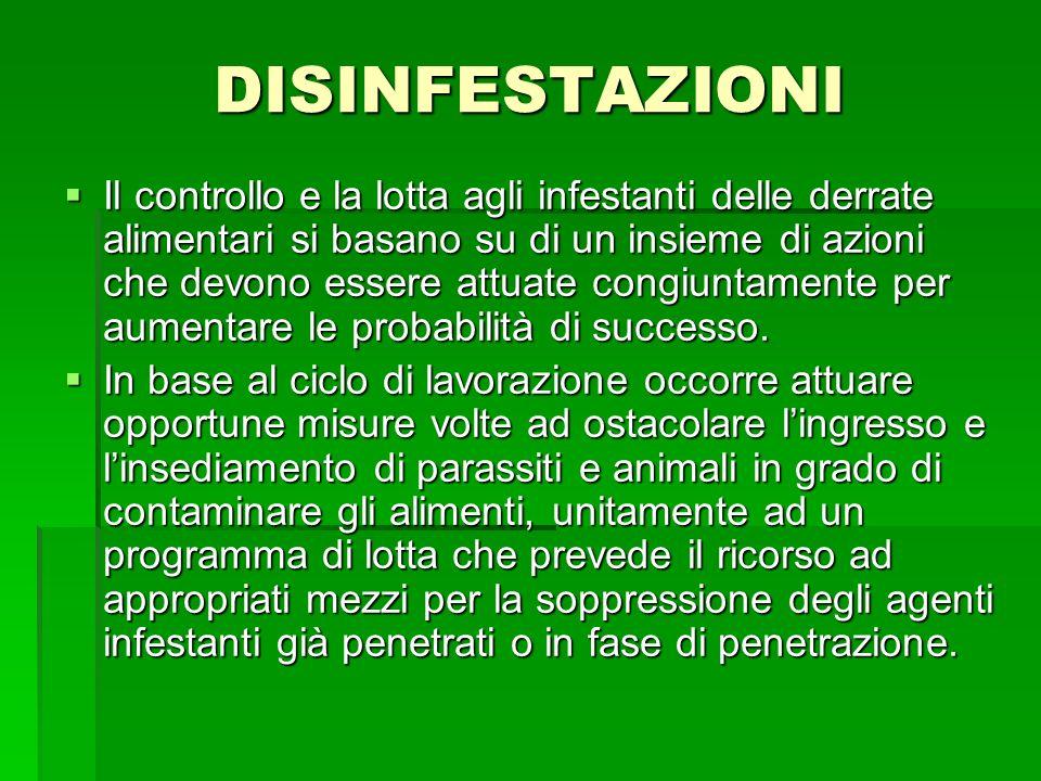 DISINFESTAZIONI Il controllo e la lotta agli infestanti delle derrate alimentari si basano su di un insieme di azioni che devono essere attuate congiu