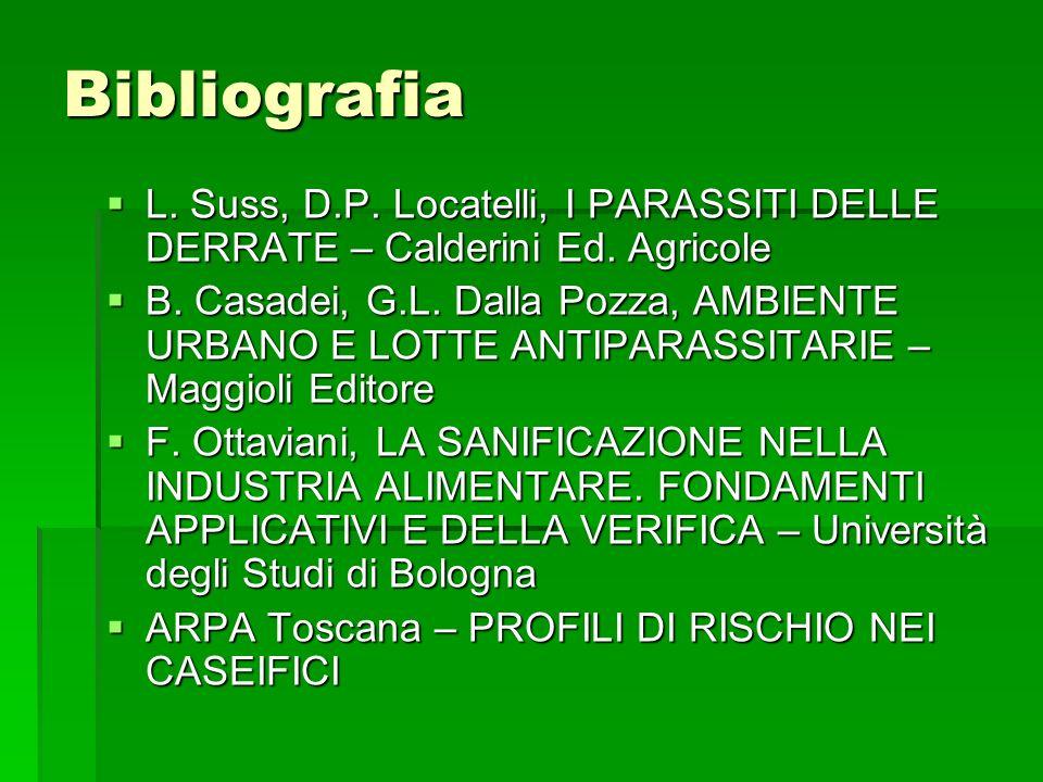Bibliografia L. Suss, D.P. Locatelli, I PARASSITI DELLE DERRATE – Calderini Ed. Agricole L. Suss, D.P. Locatelli, I PARASSITI DELLE DERRATE – Calderin