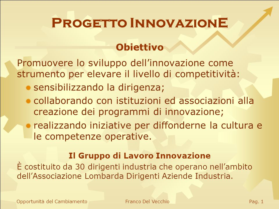 Progetto InnovazionE Tutti i diritti riservati © 2006 Sassuolo, 25 ottobre 2006 Franco Del Vecchio progetto.innovazione@virgilio.it Le opportunità del cambiamento l internazionalizzazione