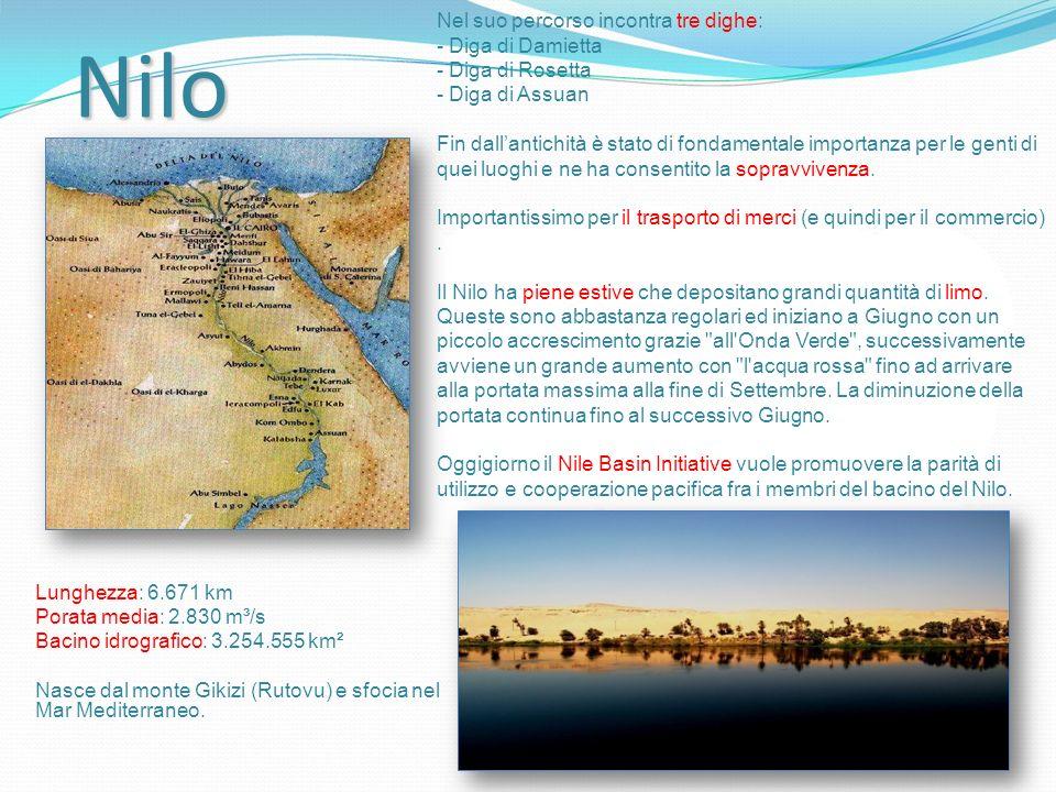 Nilo Lunghezza: 6.671 km Porata media: 2.830 m³/s Bacino idrografico: 3.254.555 km² Nasce dal monte Gikizi (Rutovu) e sfocia nel Mar Mediterraneo.