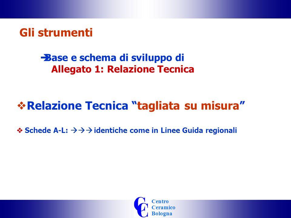 Centro Ceramico Bologna Gli strumenti Base e schema di sviluppo di Allegato 1: Relazione Tecnica Relazione Tecnica tagliata su misura Schede A-L: identiche come in Linee Guida regionali