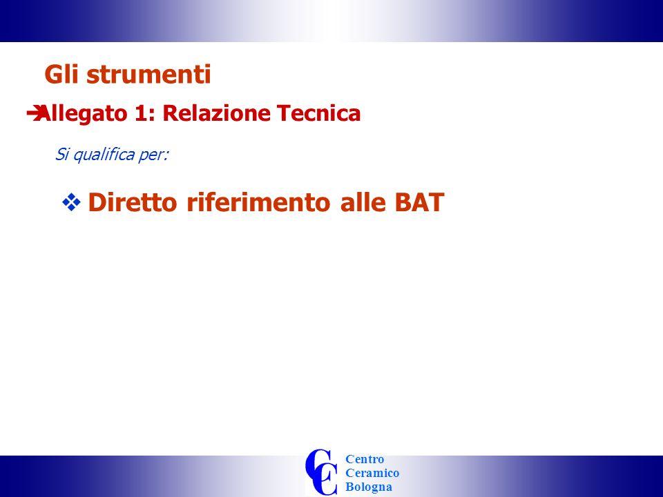 Centro Ceramico Bologna Gli strumenti Allegato 1: Relazione Tecnica Si qualifica per: Diretto riferimento alle BAT