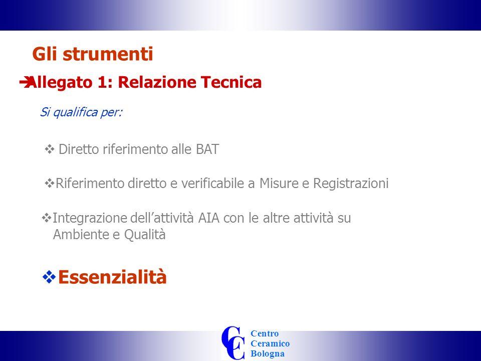 Centro Ceramico Bologna Integrazione dellattività AIA con le altre attività su Ambiente e Qualità Gli strumenti Allegato 1: Relazione Tecnica Si qualifica per: Diretto riferimento alle BAT Riferimento diretto e verificabile a Misure e Registrazioni Essenzialità