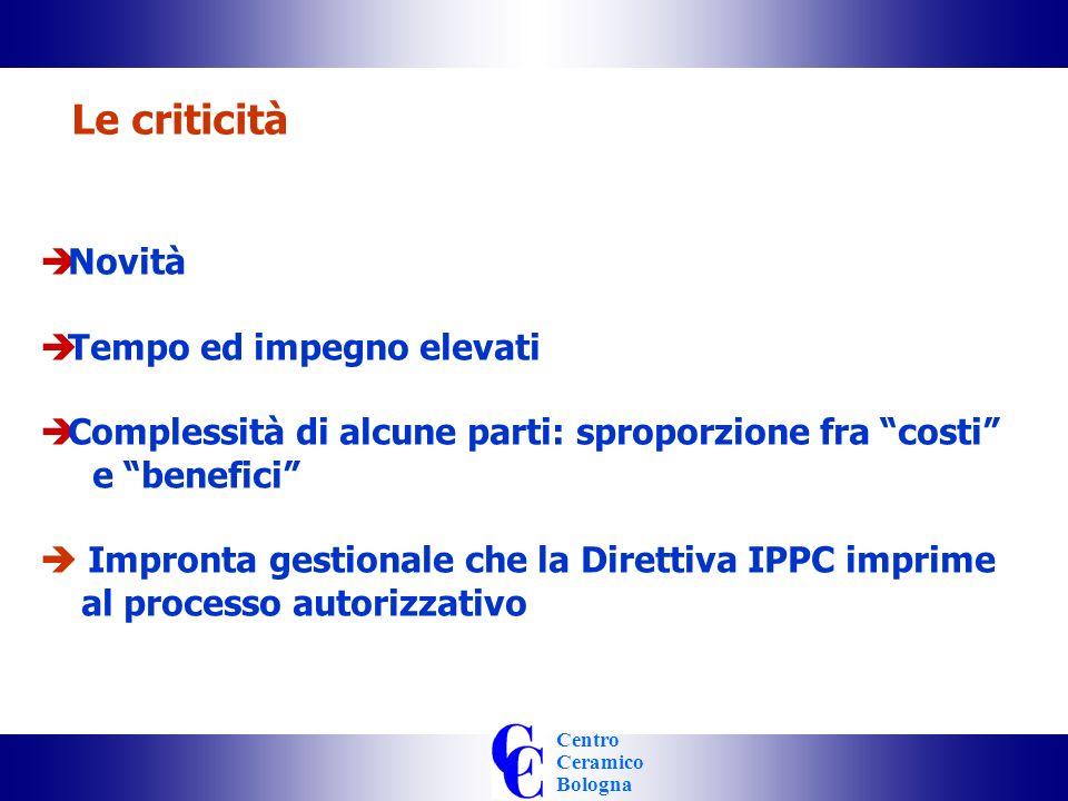 Centro Ceramico Bologna Le criticità Novità Tempo ed impegno elevati Complessità di alcune parti: sproporzione fra costi e benefici Impronta gestionale che la Direttiva IPPC imprime al processo autorizzativo