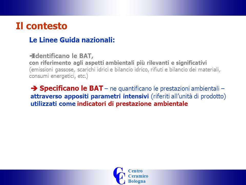 Centro Ceramico Bologna Le Linee Guida nazionali: Identificano le BAT, con riferimento agli aspetti ambientali più rilevanti e significativi (emissioni gassose, scarichi idrici e bilancio idrico, rifiuti e bilancio dei materiali, consumi energetici, etc.) Il contesto Specificano le BAT – ne quantificano le prestazioni ambientali – attraverso appositi parametri intensivi (riferiti allunità di prodotto) utilizzati come indicatori di prestazione ambientale Sono la base del contributo italiano al BREF Europeo