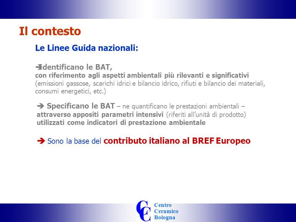 Centro Ceramico Bologna Le Linee Guida nazionali: Identificano le BAT, con riferimento agli aspetti ambientali più rilevanti e significativi (emissioni gassose, scarichi idrici e bilancio idrico, rifiuti e bilancio dei materiali, consumi energetici, etc.) Il contesto Specificano le BAT – ne quantificano le prestazioni ambientali – attraverso appositi parametri intensivi (riferiti allunità di prodotto) utilizzati come indicatori di prestazione ambientale Sono la base del contributo italiano al BREF Europeo Utilizzano gli stessi parametri di uso corrente da molti anni nel settore delle piastrelle di ceramica