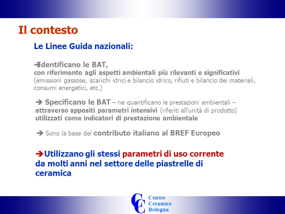 Centro Ceramico Bologna Il contesto 1995 1998 1999 2004