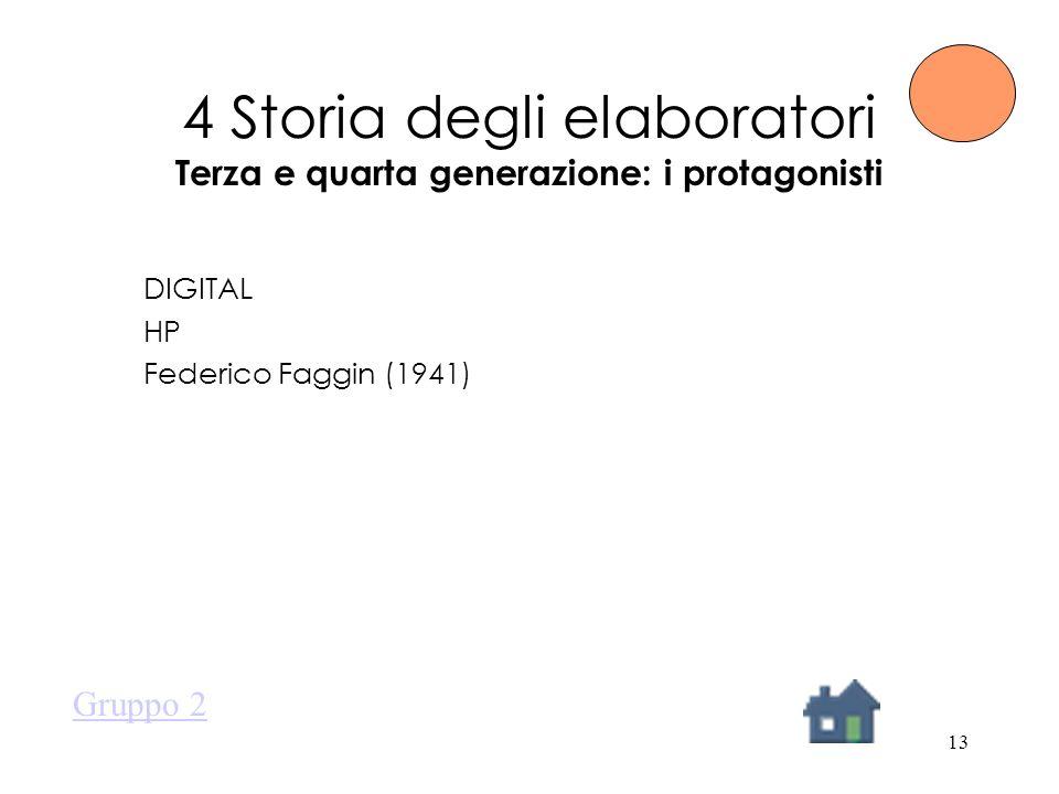 13 4 Storia degli elaboratori Terza e quarta generazione: i protagonisti DIGITAL HP Federico Faggin (1941) Gruppo 2