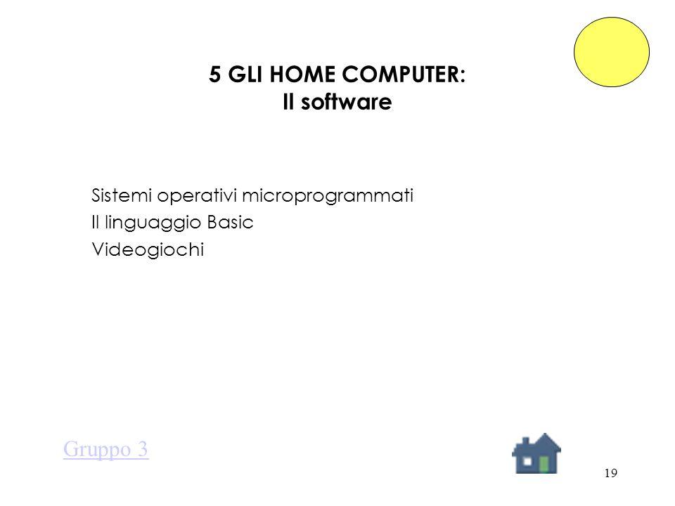 19 5 GLI HOME COMPUTER: Il software Sistemi operativi microprogrammati Il linguaggio Basic Videogiochi Gruppo 3
