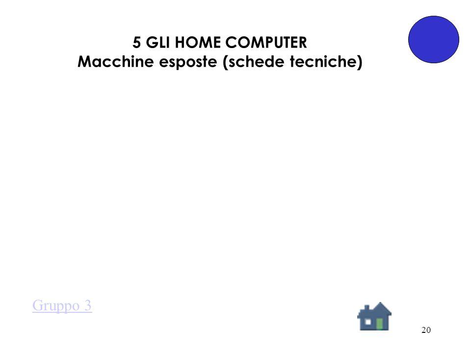 20 5 GLI HOME COMPUTER Macchine esposte (schede tecniche) Gruppo 3