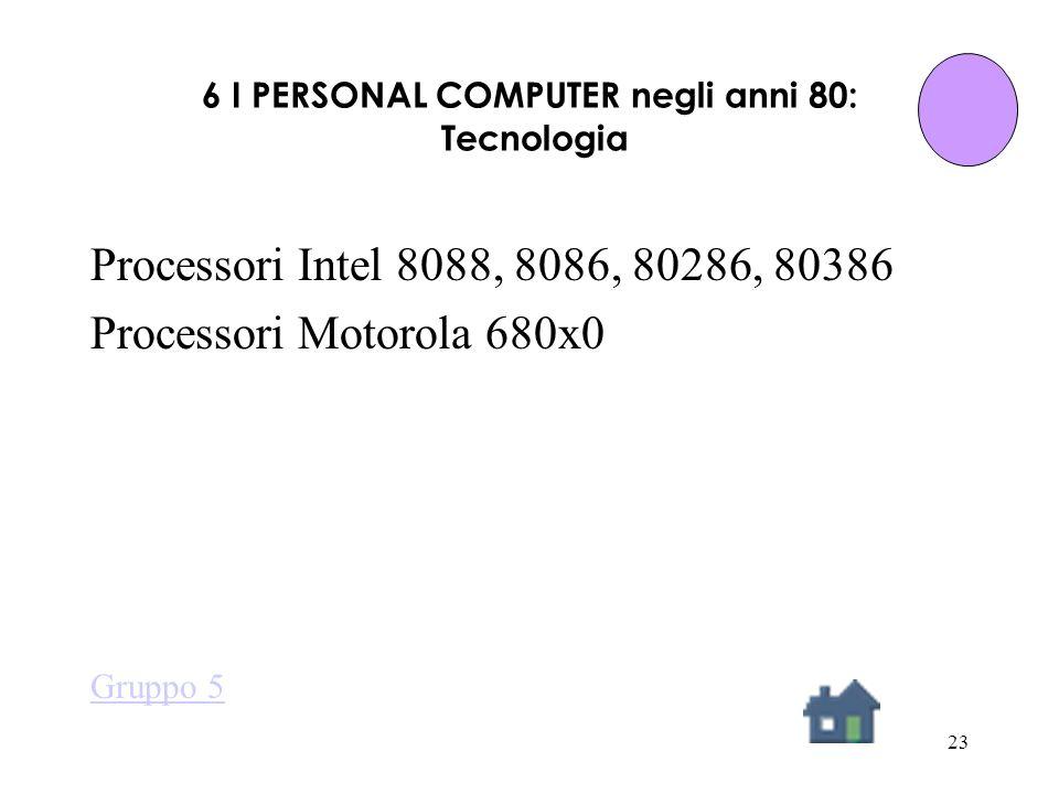 23 6 I PERSONAL COMPUTER negli anni 80: Tecnologia Processori Intel 8088, 8086, 80286, 80386 Processori Motorola 680x0 Gruppo 5