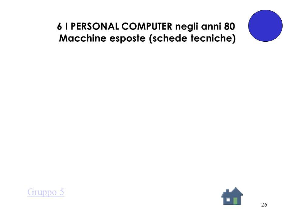 26 6 I PERSONAL COMPUTER negli anni 80 Macchine esposte (schede tecniche) Gruppo 5