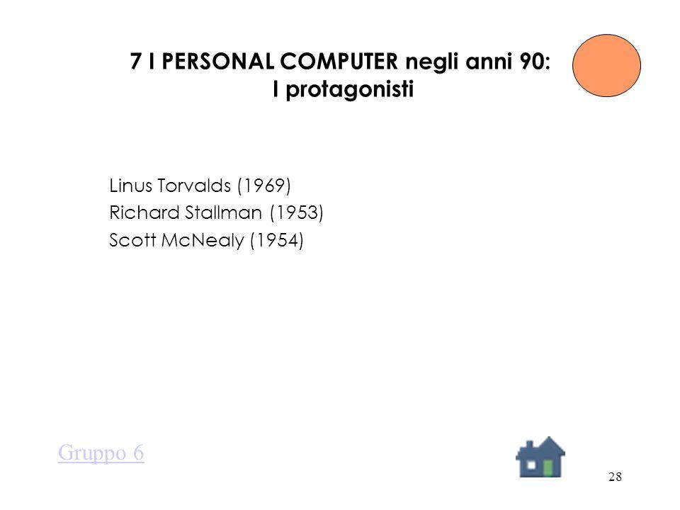 28 7 I PERSONAL COMPUTER negli anni 90: I protagonisti Linus Torvalds (1969) Richard Stallman (1953) Scott McNealy (1954) Gruppo 6