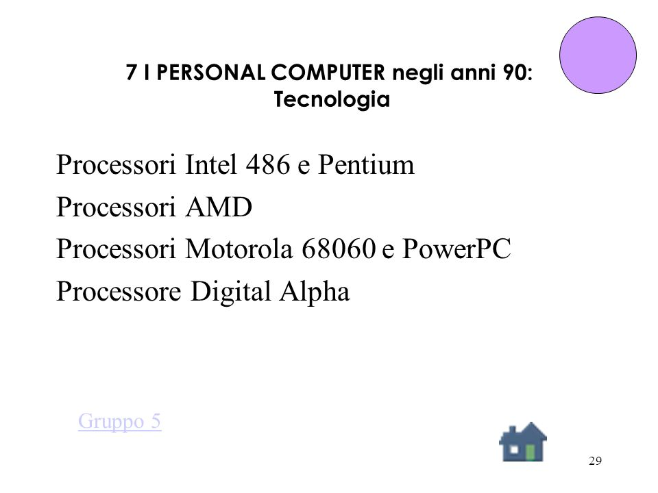 29 7 I PERSONAL COMPUTER negli anni 90: Tecnologia Processori Intel 486 e Pentium Processori AMD Processori Motorola 68060 e PowerPC Processore Digital Alpha Gruppo 5