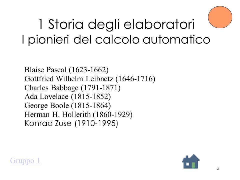 3 1 Storia degli elaboratori I pionieri del calcolo automatico Blaise Pascal (1623-1662) Gottfried Wilhelm Leibnetz (1646-1716) Charles Babbage (1791-1871) Ada Lovelace (1815-1852) George Boole (1815-1864) Herman H.