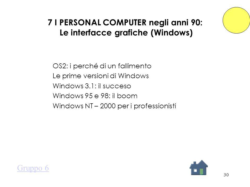 30 7 I PERSONAL COMPUTER negli anni 90: Le interfacce grafiche (Windows) OS2: i perché di un fallimento Le prime versioni di Windows Windows 3.1: il succeso Windows 95 e 98: il boom Windows NT – 2000 per i professionisti Gruppo 6