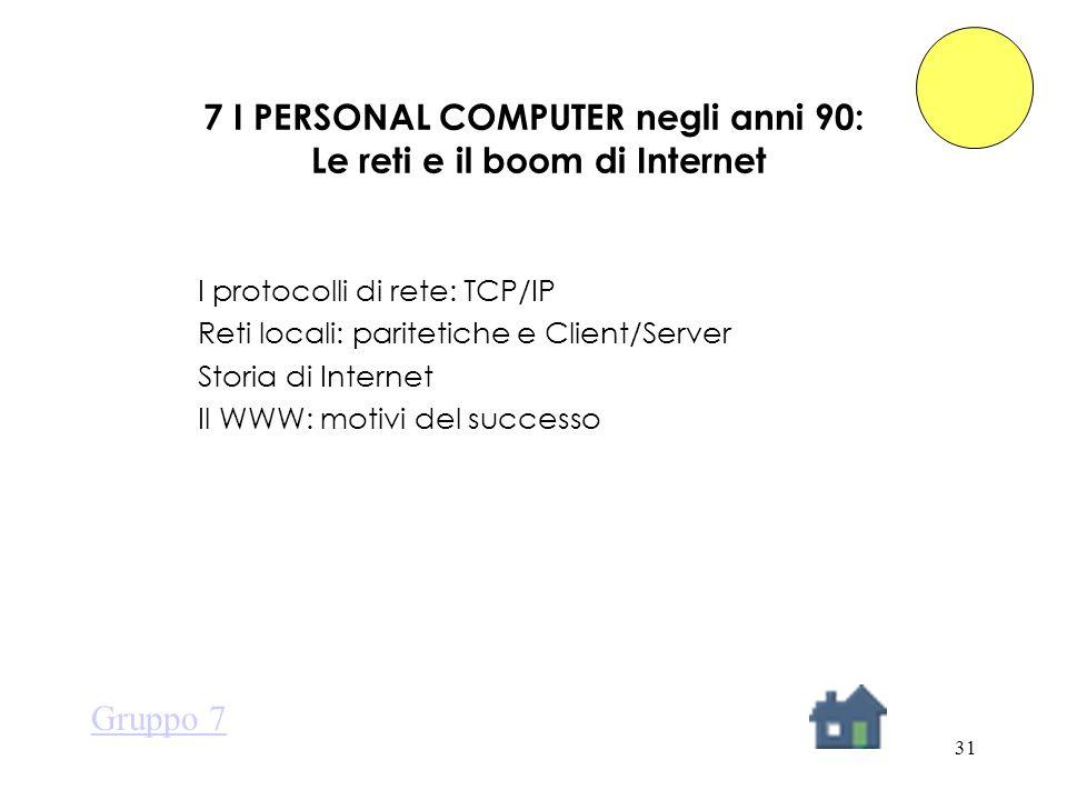 31 7 I PERSONAL COMPUTER negli anni 90: Le reti e il boom di Internet I protocolli di rete: TCP/IP Reti locali: paritetiche e Client/Server Storia di Internet Il WWW: motivi del successo Gruppo 7