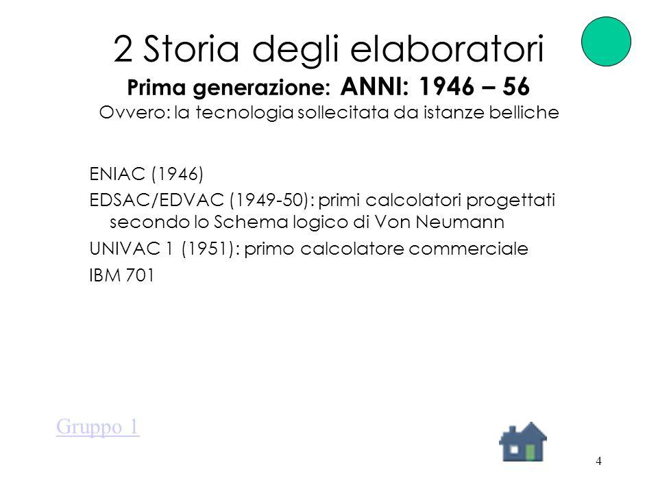 4 2 Storia degli elaboratori Prima generazione: ANNI: 1946 – 56 Ovvero: la tecnologia sollecitata da istanze belliche ENIAC (1946) EDSAC/EDVAC (1949-50): primi calcolatori progettati secondo lo Schema logico di Von Neumann UNIVAC 1 (1951): primo calcolatore commerciale IBM 701 Gruppo 1