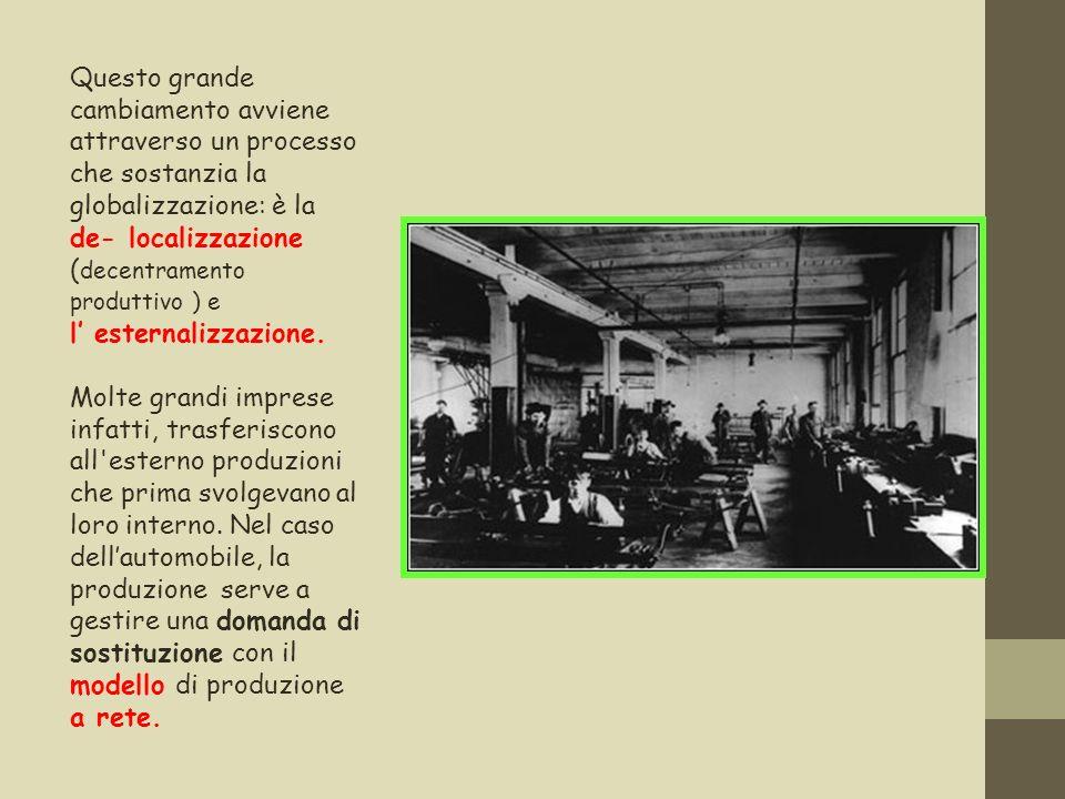Questo grande cambiamento avviene attraverso un processo che sostanzia la globalizzazione: è la de- localizzazione ( decentramento produttivo ) e l es