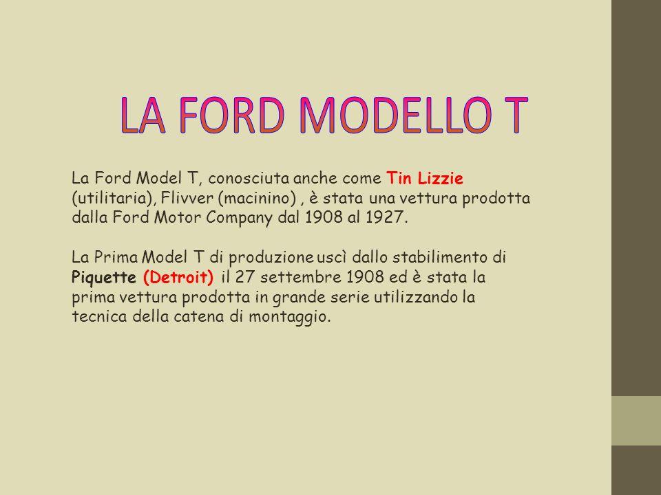 La Ford Model T, conosciuta anche come Tin Lizzie (utilitaria), Flivver (macinino), è stata una vettura prodotta dalla Ford Motor Company dal 1908 al