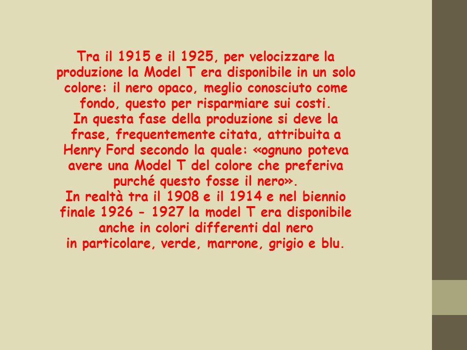 Tra il 1915 e il 1925, per velocizzare la produzione la Model T era disponibile in un solo colore: il nero opaco, meglio conosciuto come fondo, questo