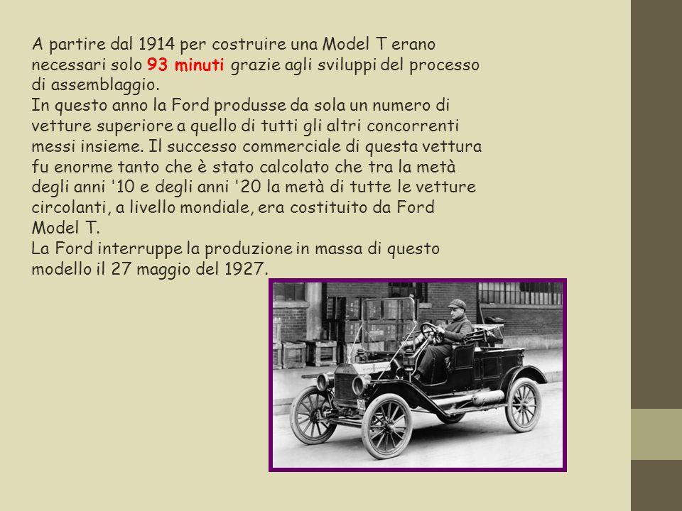 A partire dal 1914 per costruire una Model T erano necessari solo 93 minuti grazie agli sviluppi del processo di assemblaggio. In questo anno la Ford