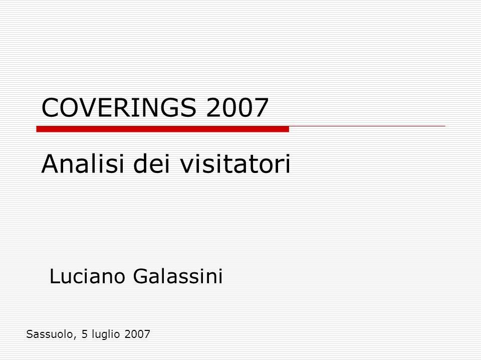 COVERINGS 2007 Luciano Galassini Sassuolo, 5 luglio 2007 Analisi dei visitatori