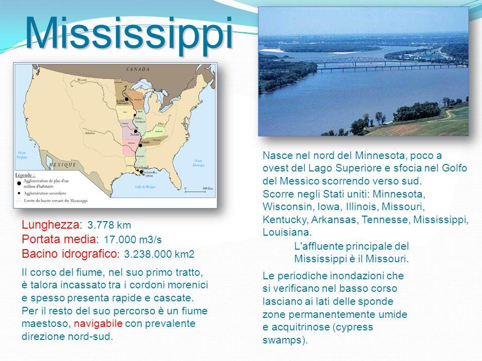 Mississippi Lunghezza: 3.778 km Portata media: 17.000 m3/s Bacino idrografico : 3.238.000 km2 Nasce nel nord del Minnesota, poco a ovest del Lago Superiore e sfocia nel Golfo del Messico scorrendo verso sud.