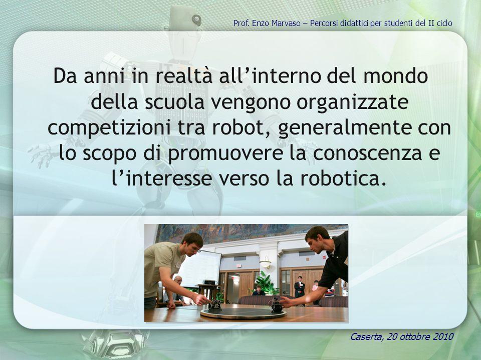 Da anni in realtà allinterno del mondo della scuola vengono organizzate competizioni tra robot, generalmente con lo scopo di promuovere la conoscenza