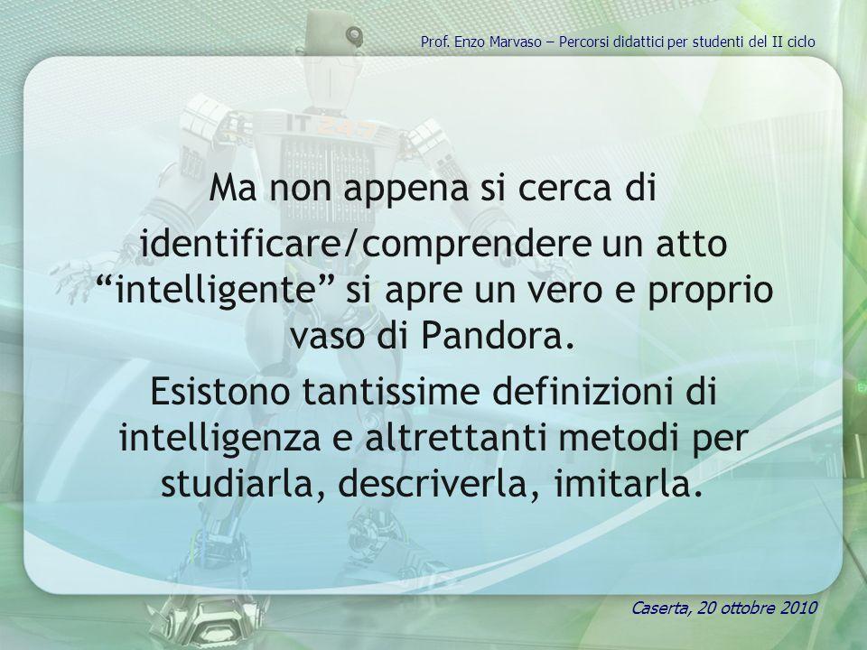 Ma non appena si cerca di identificare/comprendere un atto intelligente si apre un vero e proprio vaso di Pandora. Esistono tantissime definizioni di