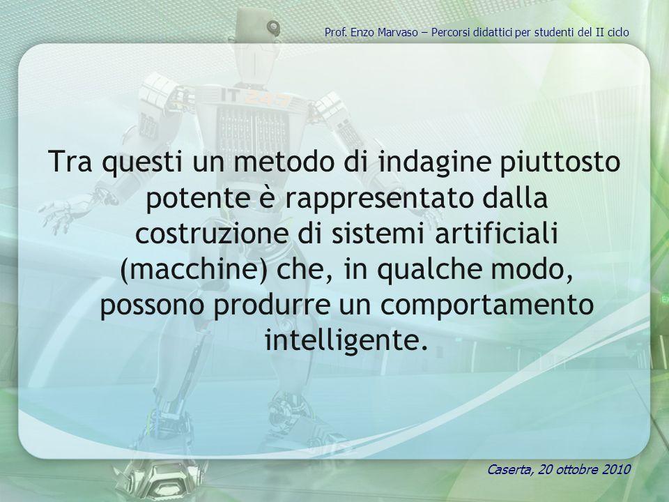 Tra questi un metodo di indagine piuttosto potente è rappresentato dalla costruzione di sistemi artificiali (macchine) che, in qualche modo, possono produrre un comportamento intelligente.
