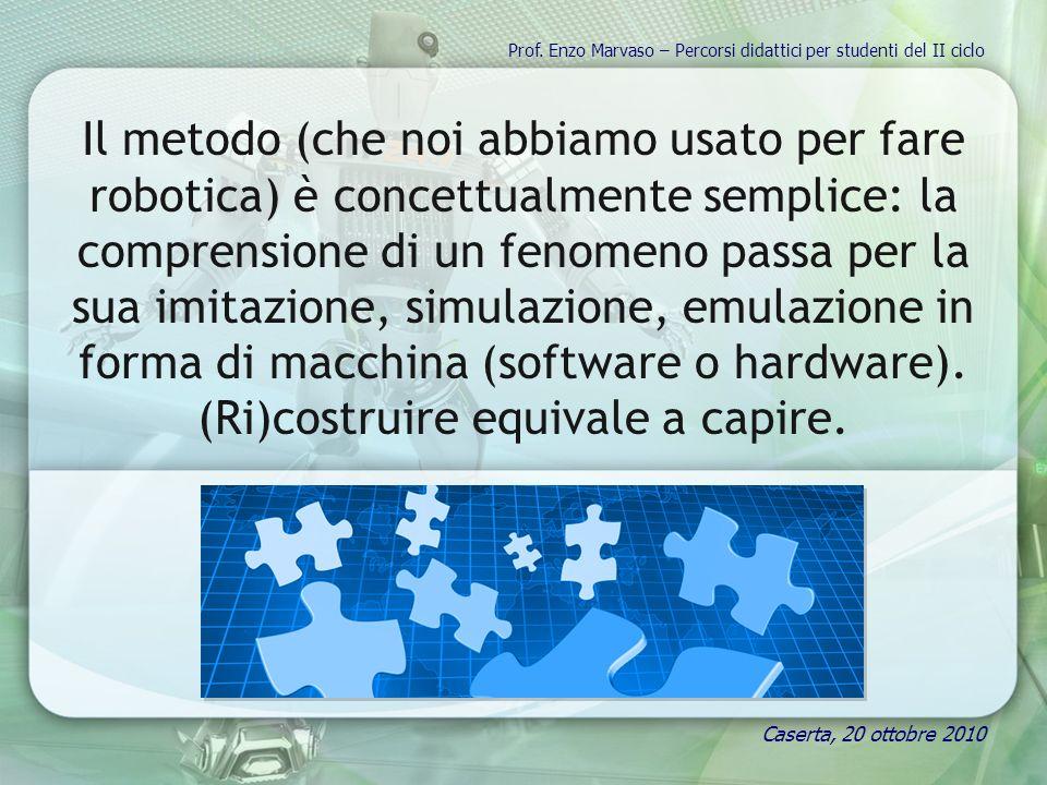 Il metodo (che noi abbiamo usato per fare robotica) è concettualmente semplice: la comprensione di un fenomeno passa per la sua imitazione, simulazione, emulazione in forma di macchina (software o hardware).