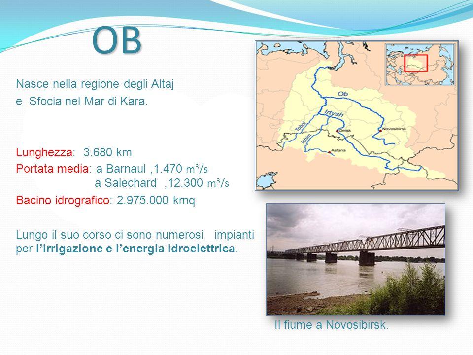 OB Nasce nella regione degli Altaj e Sfocia nel Mar di Kara. Lunghezza: 3.680 km Portata media: a Barnaul,1.470 m 3 /s a Salechard,12.300 m 3 /s Bacin