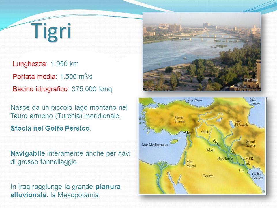 Tigri Lunghezza: 1.950 km Portata media: 1.500 m 3 /s Bacino idrografico: 375.000 kmq Nasce da un piccolo lago montano nel Tauro armeno (Turchia) meri