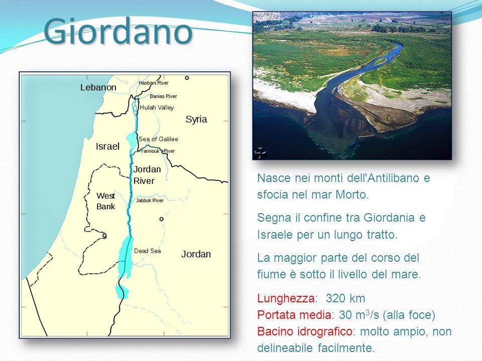 Giordano Lunghezza: 320 km Portata media: 30 m 3 /s (alla foce) Bacino idrografico: molto ampio, non delineabile facilmente. Nasce nei monti dell'Anti