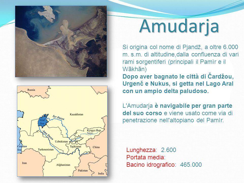 Amudarja Si origina col nome di Pjandž, a oltre 6.000 m. s.m. di altitudine,dalla confluenza di vari rami sorgentiferi (principali il Pamìr e il Wākhā