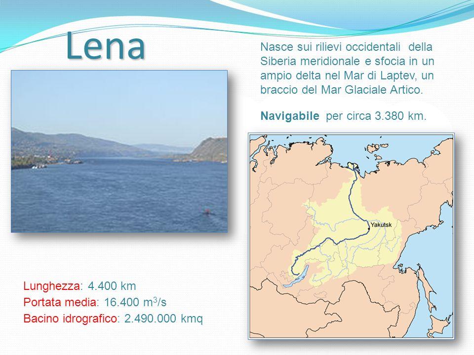 Lena Nasce sui rilievi occidentali della Siberia meridionale e sfocia in un ampio delta nel Mar di Laptev, un braccio del Mar Glaciale Artico. Lunghez