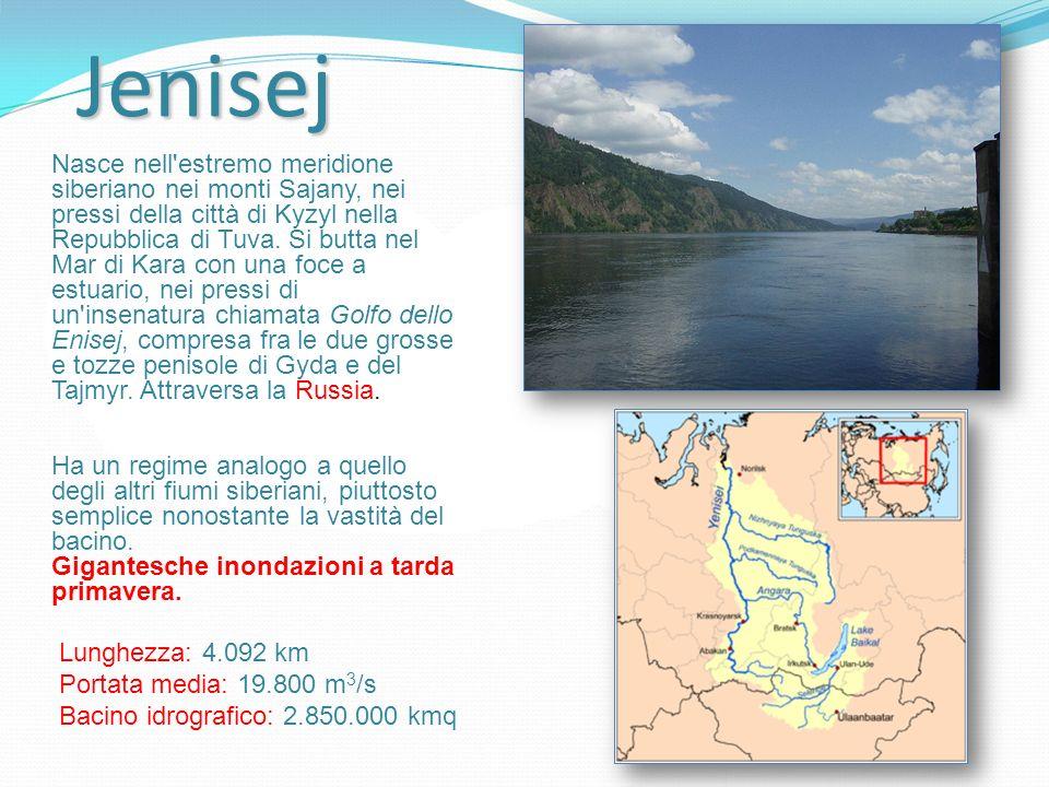 Jenisej Nasce nell'estremo meridione siberiano nei monti Sajany, nei pressi della città di Kyzyl nella Repubblica di Tuva. Si butta nel Mar di Kara co