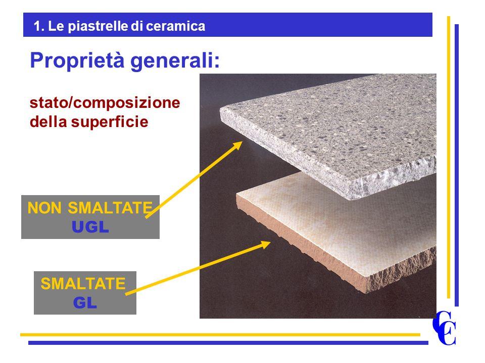 NON SMALTATE UGL SMALTATE GL Proprietà generali: stato/composizione della superficie 1. Le piastrelle di ceramica
