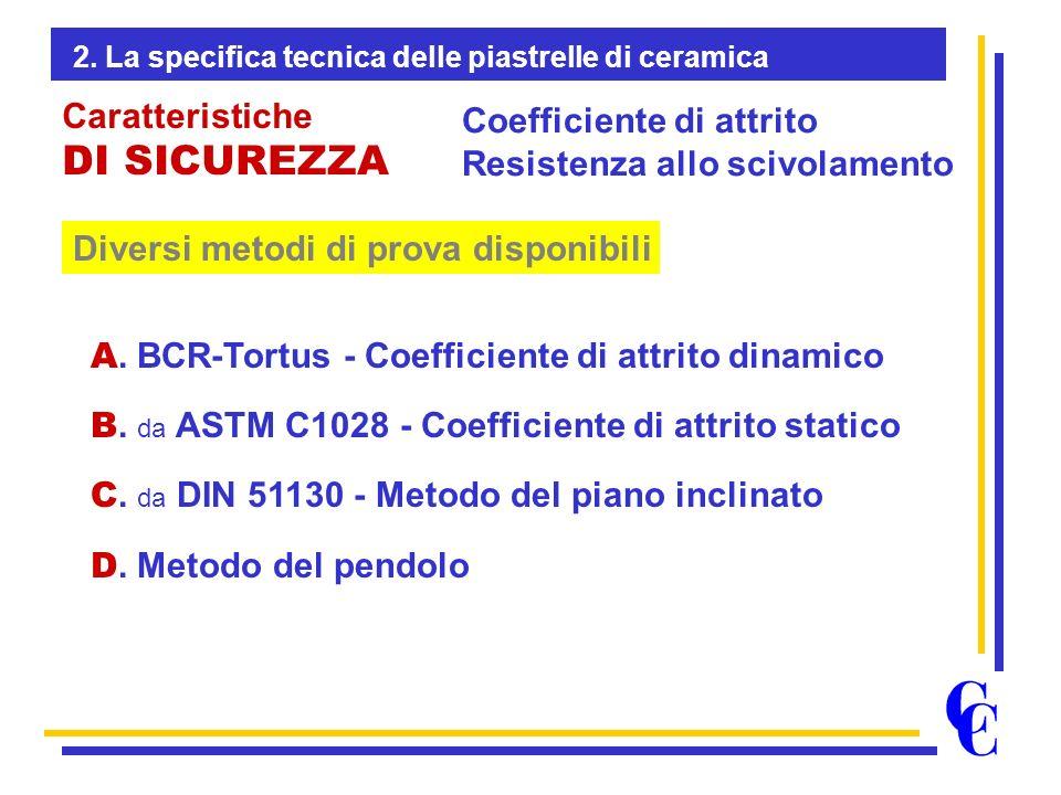 Diversi metodi di prova disponibili Coefficiente di attrito Resistenza allo scivolamento Caratteristiche DI SICUREZZA A. BCR-Tortus - Coefficiente di