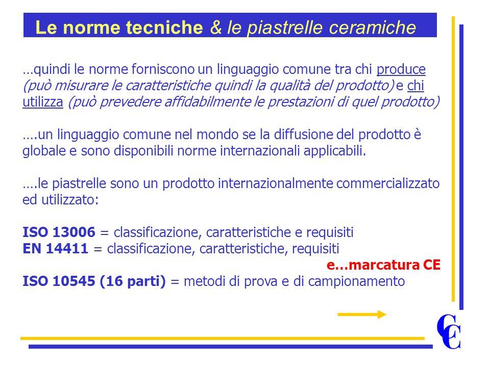 …quindi le norme forniscono un linguaggio comune tra chi produce (può misurare le caratteristiche quindi la qualità del prodotto) e chi utilizza (può