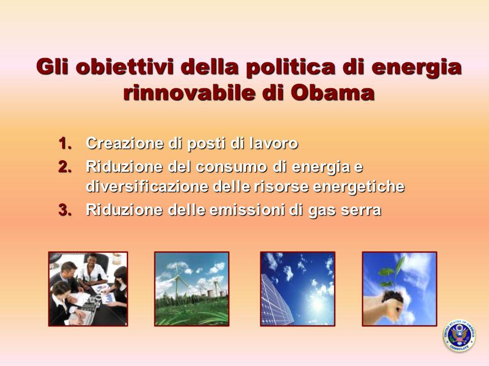 Gli obiettivi della politica di energia rinnovabile di Obama 1.Creazione di posti di lavoro 2.Riduzione del consumo di energia e diversificazione delle risorse energetiche 3.Riduzione delle emissioni di gas serra