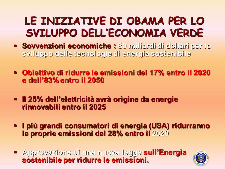 LE INIZIATIVE DI OBAMA PER LO SVILUPPO DELLECONOMIA VERDE Sovvenzioni economiche : 80 miliardi di dollari per lo sviluppo delle tecnologie di energia sostenibile Sovvenzioni economiche : 80 miliardi di dollari per lo sviluppo delle tecnologie di energia sostenibile Obiettivo di ridurre le emissioni del 17% entro il 2020 e dell83% entro il 2050 Obiettivo di ridurre le emissioni del 17% entro il 2020 e dell83% entro il 2050 Il 25% dellelettricità avrà origine da energie rinnovabili entro il 2025 Il 25% dellelettricità avrà origine da energie rinnovabili entro il 2025 I più grandi consumatori di energia (USA) ridurranno le proprie emissioni del 28% entro il 2020 I più grandi consumatori di energia (USA) ridurranno le proprie emissioni del 28% entro il 2020 Approvazione di una nuova legge sullEnergia sostenibile per ridurre le emissioni.