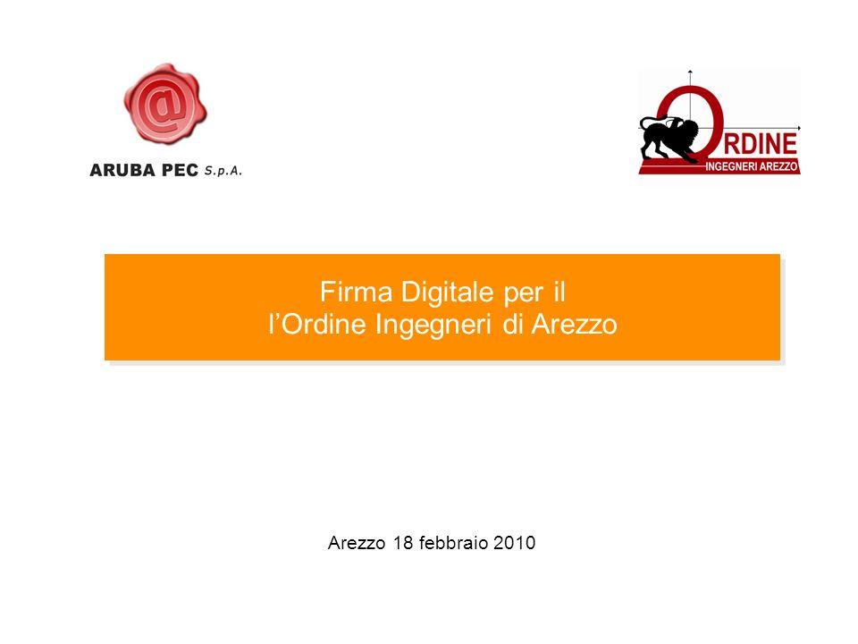 Arezzo 18 febbraio 2010 Firma Digitale per il lOrdine Ingegneri di Arezzo Firma Digitale per il lOrdine Ingegneri di Arezzo