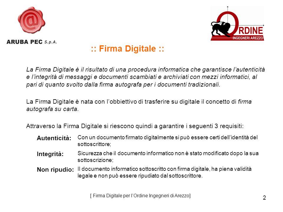 2 :: Firma Digitale :: La Firma Digitale è il risultato di una procedura informatica che garantisce lautenticità e lintegrità di messaggi e documenti scambiati e archiviati con mezzi informatici, al pari di quanto svolto dalla firma autografa per i documenti tradizionali.