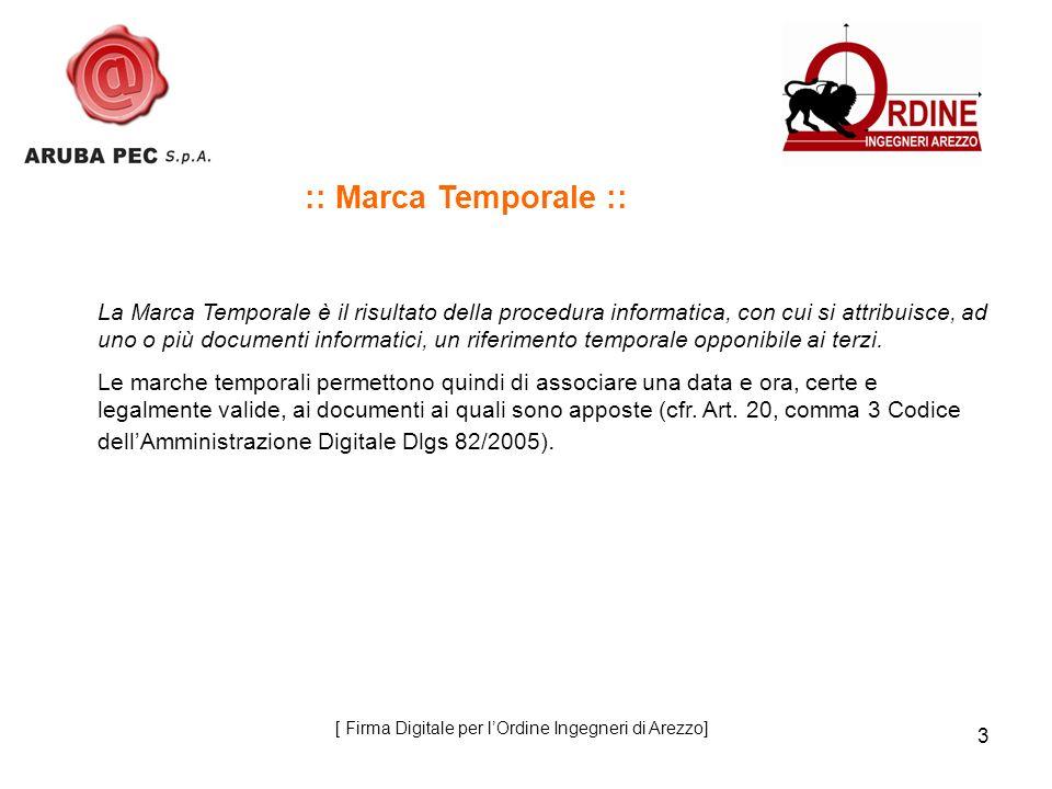 14 :: Marcatura temporale di un file firmato :: 1 Sottomissione del documento per lapposizione della marca temporale Titolare + 2 Invio alla CA dellimpronta del documento Certificatore accreditato (TSA) 3 Restituzione della marca temporale ( file con estensione.tsr ) 4 Salvataggio del file contenente Marca Temporale e Firma Digitale ( file con estensione.m7m ) [ Firma Digitale per lOrdine Ingegneri di Arezzo]